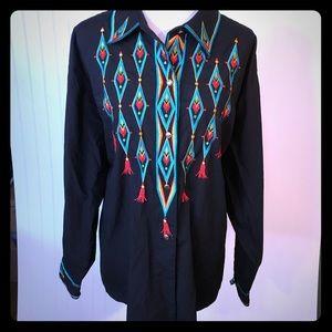 Bob Mackie Button Down Embroidered Shirt 3X